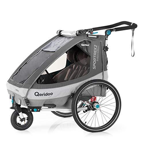 Qeridoo Kidgoo2 (2020/2021) Kinderfahrradanhänger - Grau & Petrol
