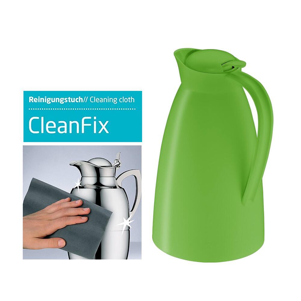 alfi Isolierkanne Eco 1,0 l (12 Stunden heiß, 24 Stunden kalt) + alfi Reinigungstuch cleanfix Mikrofaser