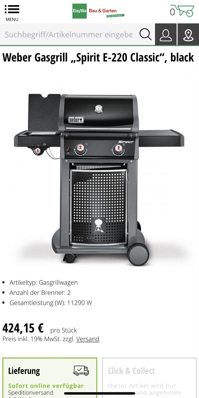 "Weber Gasgrill ""Spirit E-220 E220 Classic"", black"