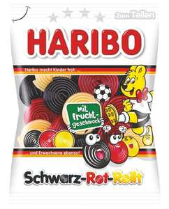 HARIBO 175g Beutel Fruchtschnecken (2,23€/kg) Schwarz-Rot-Rollt (MHD 03/21)
