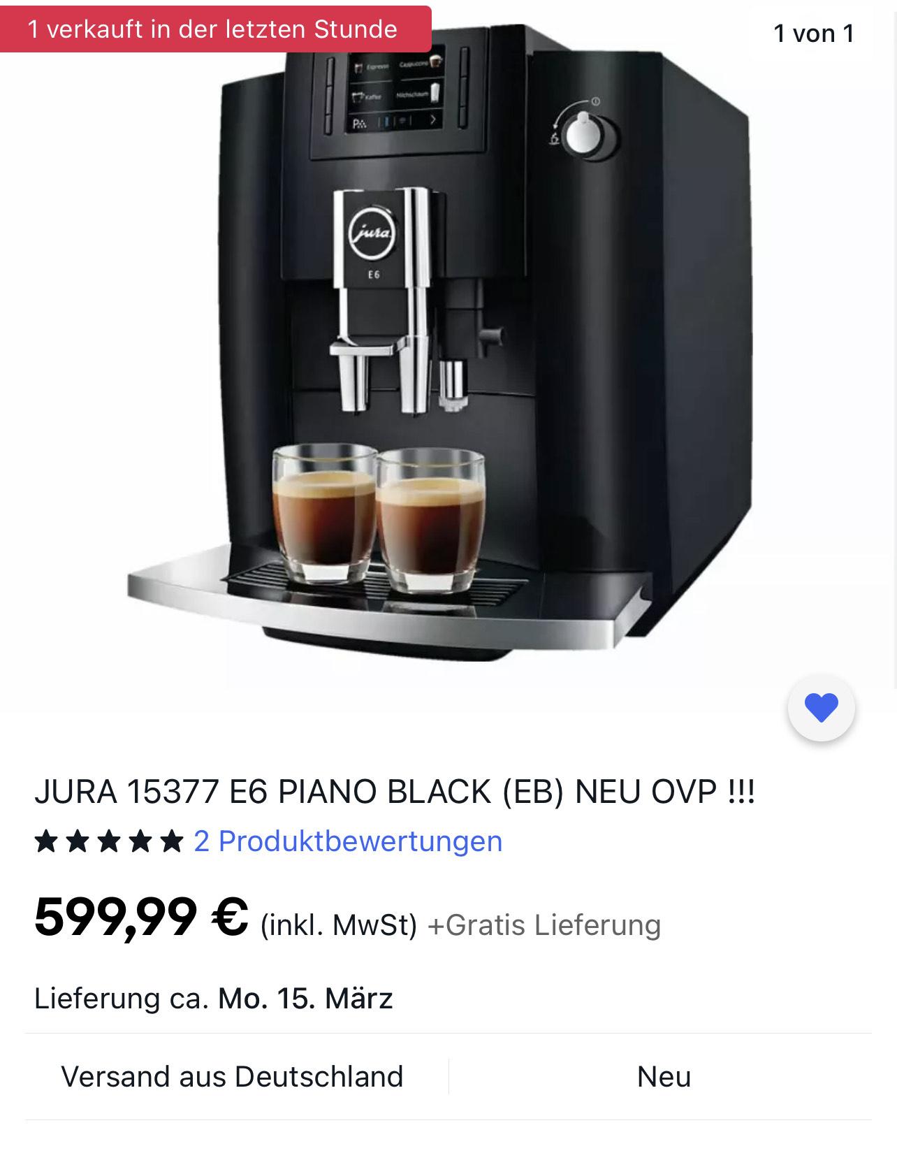 Jura E6 - EB - Kaffeevollautomat - 50 Euro Cashback möglich