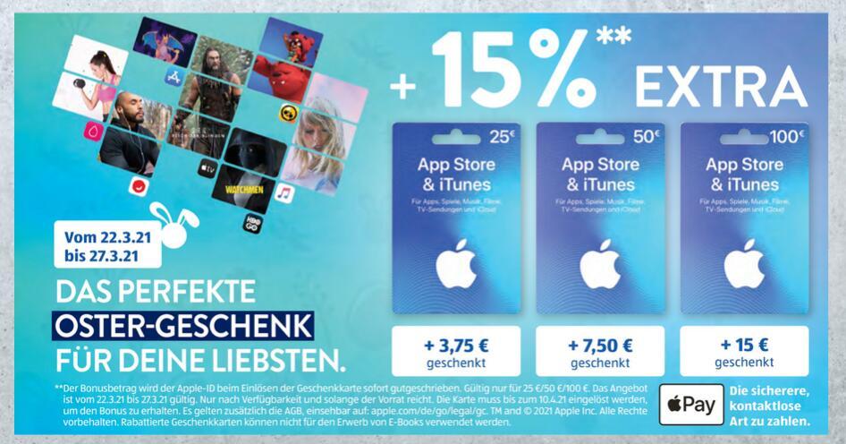 [ALDI Süd] Apple AppStore &iTunes Guthabenkarte mit 15% Extraguthaben