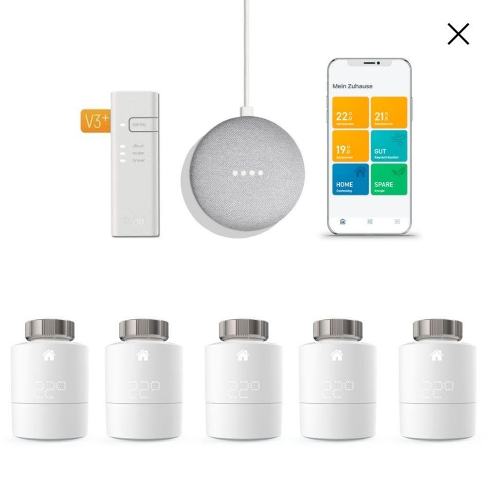 Tink (Vattenfall Bestandskunden) - tado° Starterkit + 5 Heizungsthermostate + Google Nest mini (2. Generation)