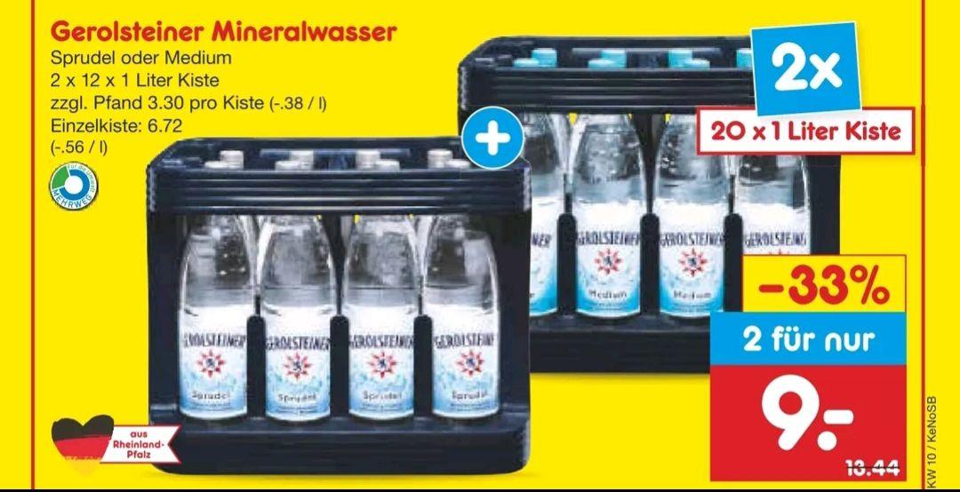 [Netto MD] Gerolsteiner im Kisten-Doppelpack, abzgl. Rabatt Coupons 7,20€ (3,60€ p. Kiste)