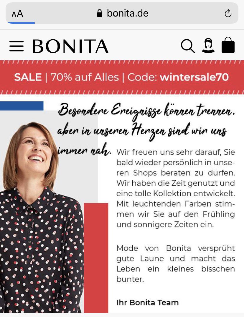 BONITA 70% auf Alles, versandkostenfrei ab 40€