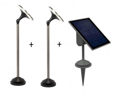 Lutec sun'connec Eco-Light KIWA Set: 2 x Leuchten und 1 x Solarpanel LED Chrom, Schwarz, 6-flammig