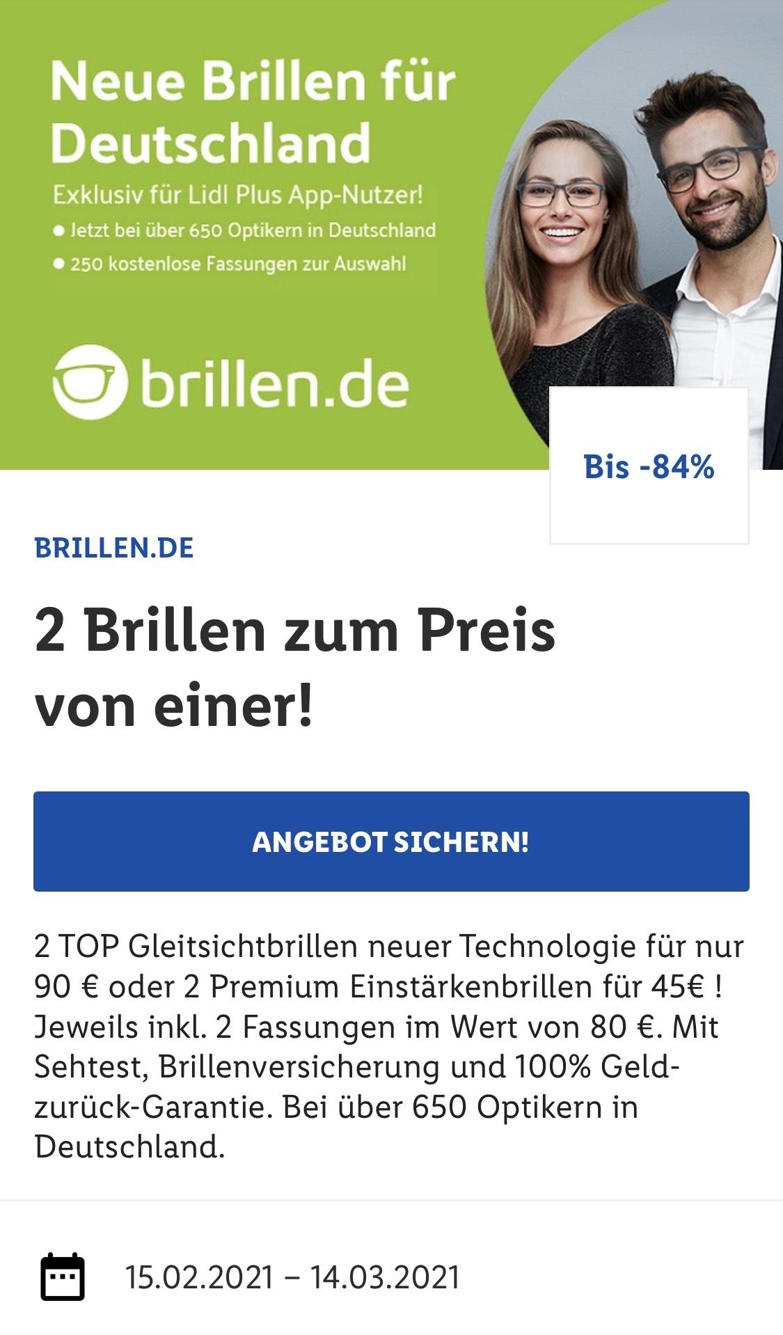 LIDL Plus - 2x Gleitsichtbrillen für 90 €