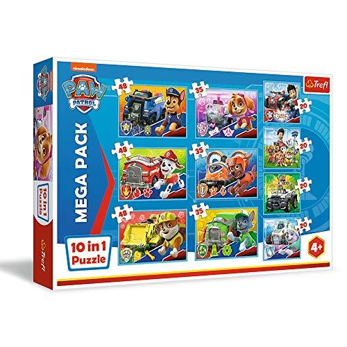 [Prime] Trefl, 90355 Puzzle, Das Team von PAW Patrol, von 20 bis 40 Teilen, 10 Sets, PAW Patrol, für Kinder ab 4 Jahren