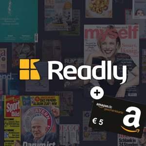 1 Gratismonat Readly Magazin-Flatrate mit 5€ Amazon Gutschein für Neukunden (u.a. mit Auto Bild, Rolling Stone, Sport Bild, etc.)