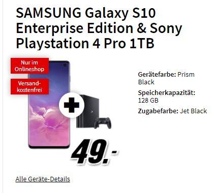 Samsung S10 Enterprise Edition & PS4 Pro 1TB im green LTE 10GB (vodafone) für 24,99€ monatl. und einm. 49€