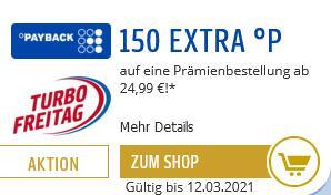 Payback 150 Extrapunkte auf eine Prämienbestellung ab 24,99 € - auf Gutscheine ab 25 € einsetzbar