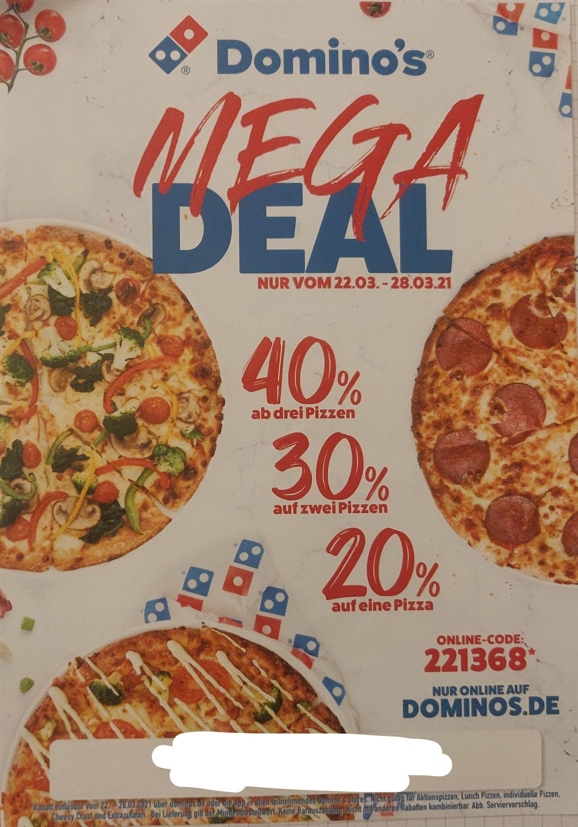 Dominos 40% ab drei, 30% auf zwei und 20% auf eine Pizza