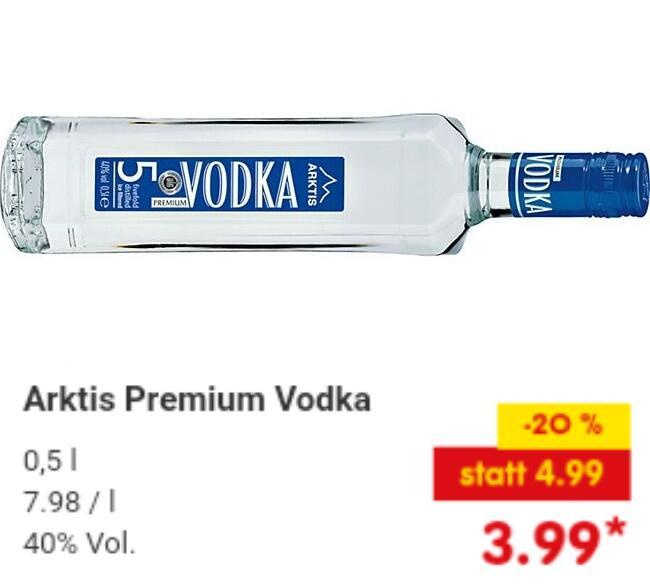 [13.03.21] 0,5l-Fl. Arktis Premium Vodka 40,0 ‰ vol (7,98€/l)