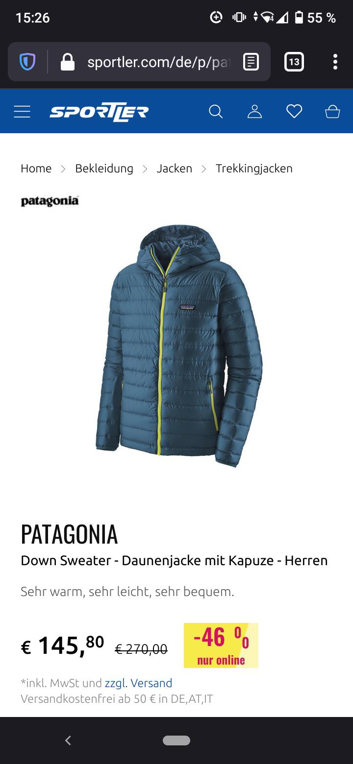 Patagonia Down Sweater Hoody - Daunenjacke mit Kapuze - Herren blue/yellow Größe L/XL