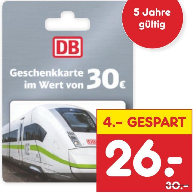 [Netto MD] 30€-Geschenkkarte der Deutschen Bahn für 26€