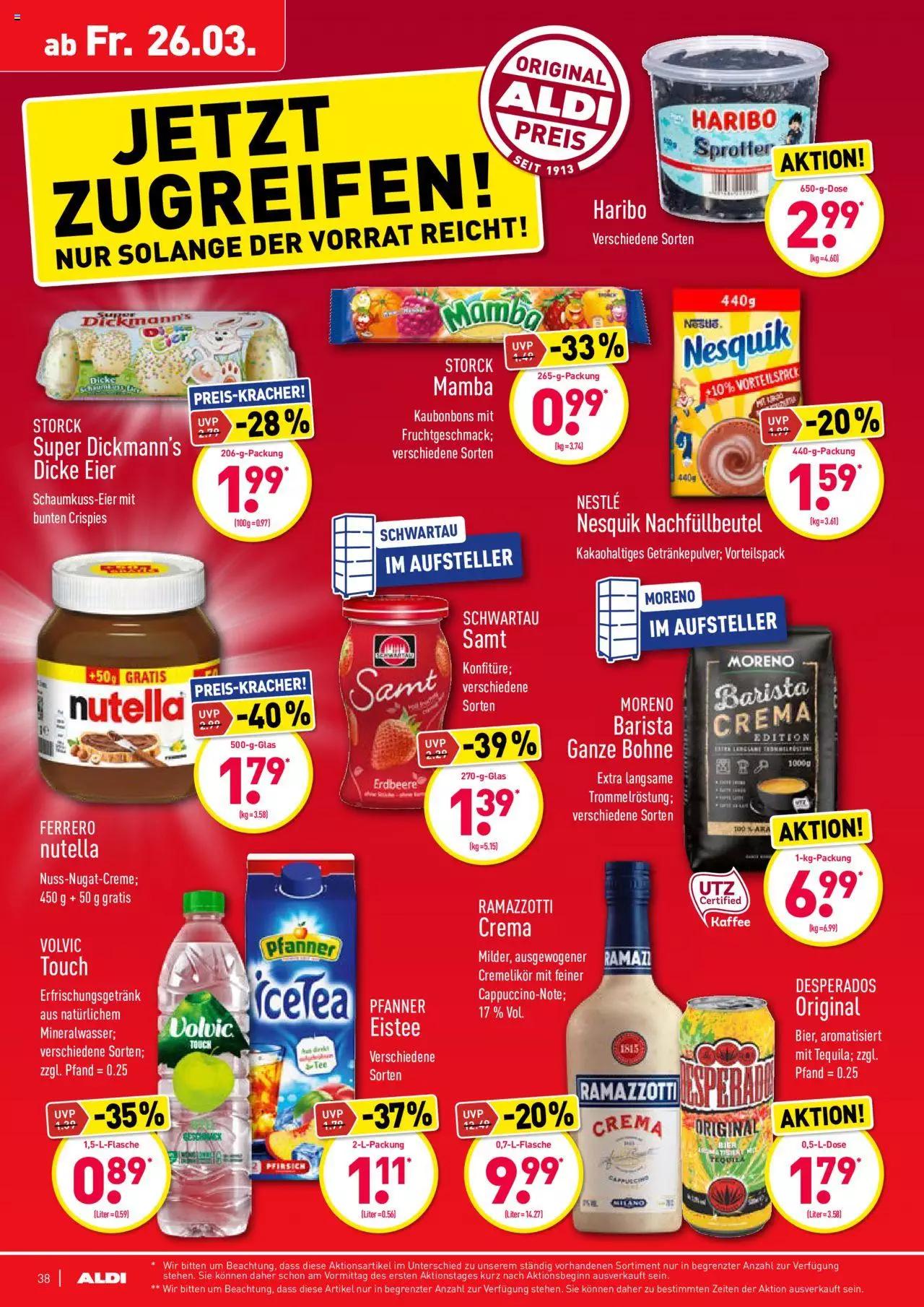 Aldi Nord : Nutella im 500 Gramm Glas ( davon 50 Gramm gratis ) Kilopreis 3.58€
