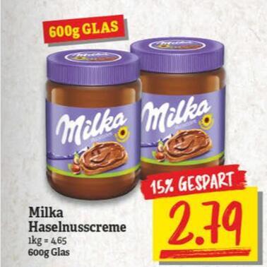 Milka Haselnusscreme 600g Glas (ab 4,18⅓€/kg)