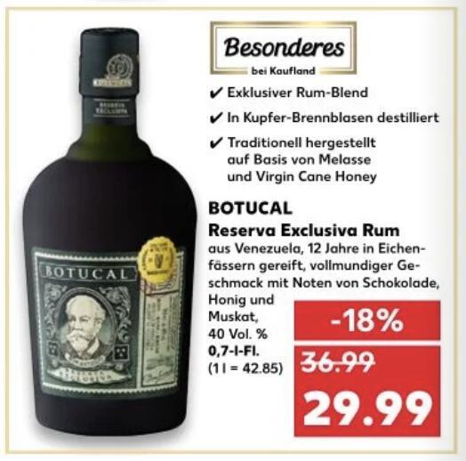 [Lokal Kaufland] Botucal Reserva Exclusiva Rum 40% 0,7l   Ab 18.03