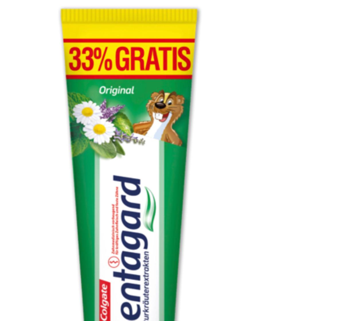 Penny Markt: Dentagard von Colgate in der 100ml Tube ( 33% gratis gegenüber der 75 ml Tube ) mit Minze, Salbei, Myrrhe und Kamille