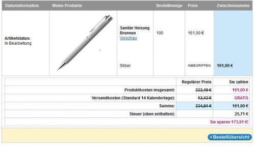 50% auf Metallkugelschreiber mit Gravur @Vistaprint, z.B.: 100 Stück für 161€ inkl. Standardversand.
