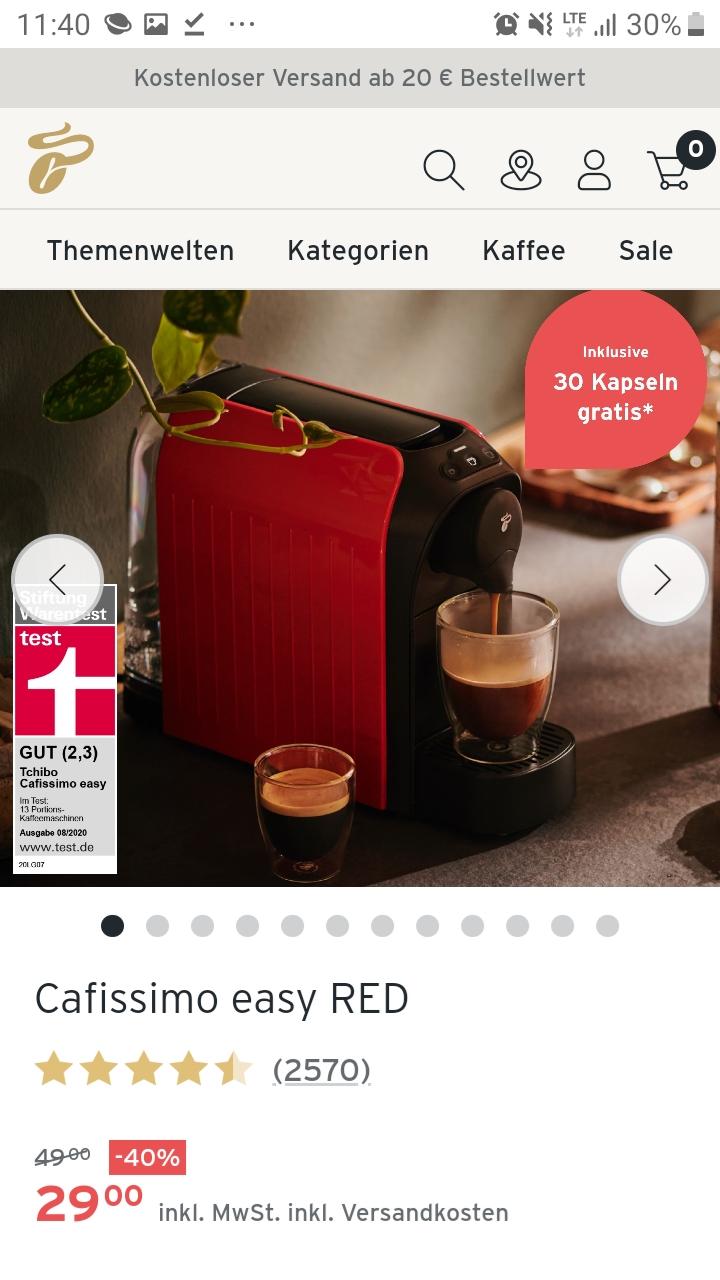 Tchibo Onlineshop (mit CB noch 2,90€ zusätzlich sparen): Cafissimo easy Red, Kapselmaschine in rot+ 30 Kapseln gratis dazu im Bestellvorgang