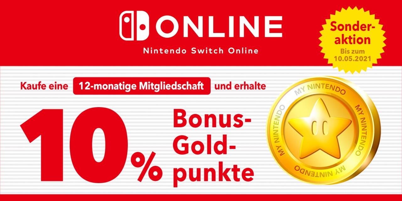 """10% """"Cashback"""" in Goldpunkten (Nachlass im eShop) bei Verlängerung/Kauf/Einlösen einer 12-monatigen Nintendo Switch Online-Mitgliedschaft"""