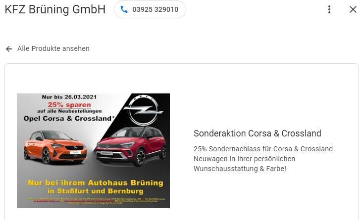 25% auf alle Opel Corsa und Crossland bei Neubestellung