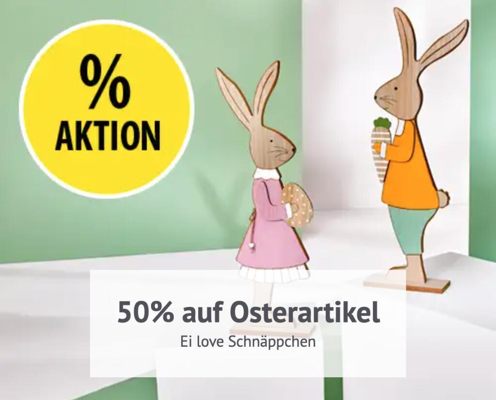 Ei love Schnäppchen: 50% Rabatt auf drei Osterdekoartikel (Abholung NKD oder Lieferung + 2,95€)