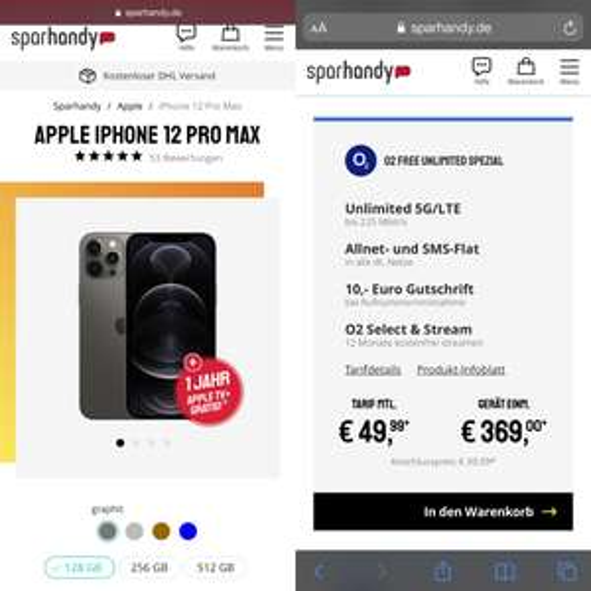 Apple iPhone 12 Pro Max 128GB mit O2 Free Unlimited (unbegrenztes Datenvolumen inkl. 5G, Allnet/SMS) mtl. 49,99€ einm. 369€, 39,99€ AG