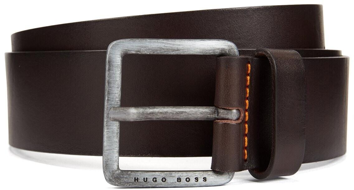 [Prime] Hugo Boss Jeeko Herrengürtel in dunkelbraun aus Glattleder mit gebürsteter Schließe (Gr. 80 - 115cm)