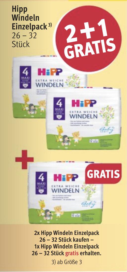 Hipp Windeln 2+1 gratis ROSSMANN