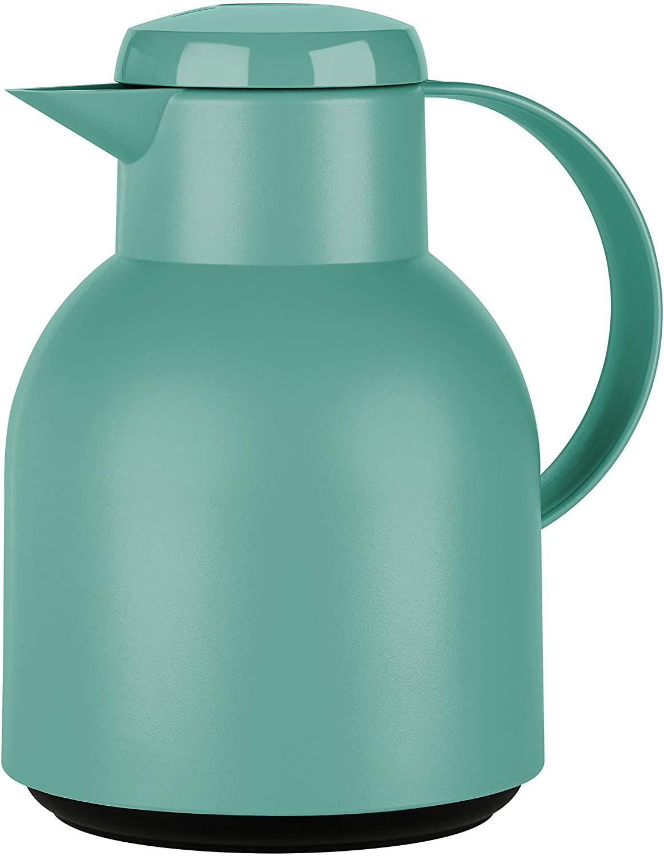 [Prime] Emsa Samba Isolierkanne F40102 | 1 Liter | Quick Press Verschluss | 100% dicht | 12h heiß, 24h kalt | Pudergrün