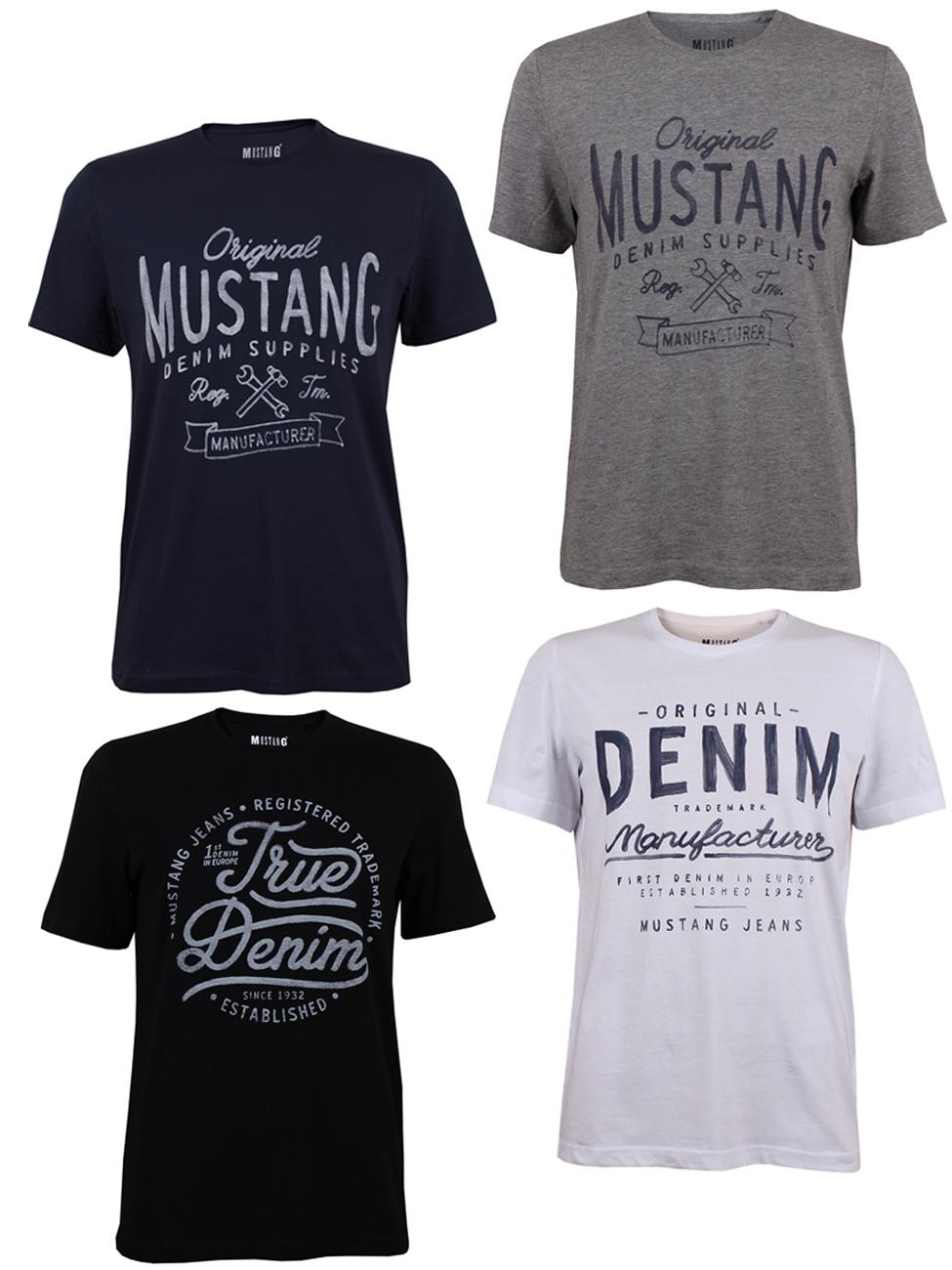 Verschiedene 4er Pack Shirts ab 29,99€ & versandkostenfrei, z.B. Mustang Herren T-Shirt mit Frontprint und Rundhalsausschnitt