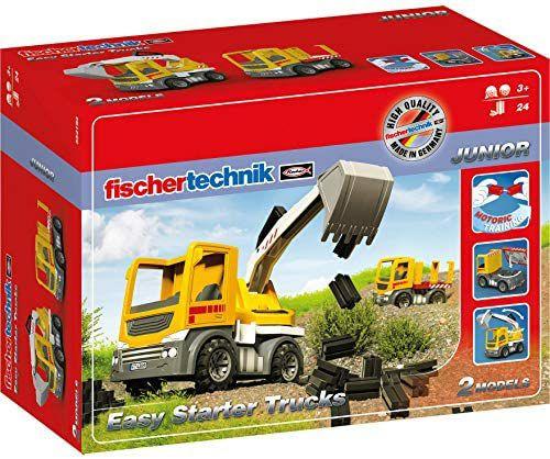Fischertechnik Baustellenfahrzeuge Easy Starter Trucks ab 3 Jahren, Baggerfunktion & Schwerlast Baustellen-LKW, 24Teile [Amazon Prime]