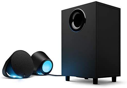 Logitech G560 PC-Gaming-Lautsprecher mit DTS:X Ultra Surround Sound, Spielbasierter LIGHTSYNC RGB-Beleuchtung