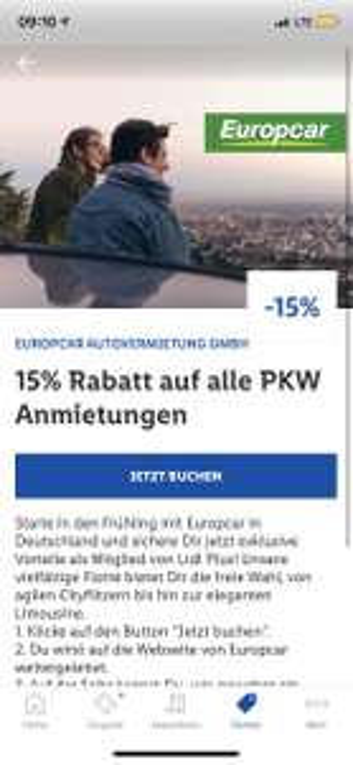 15% Rabatt auf Europcar