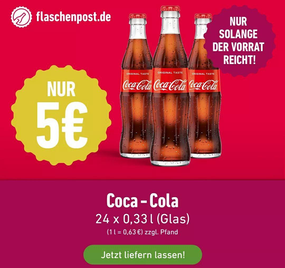 [Lokal: Mainz, Wiesbaden] Coca-Cola Kasten 24 x 0,33l Glasflaschen für 5 € zzgl. Pfand - MBW: 20 €