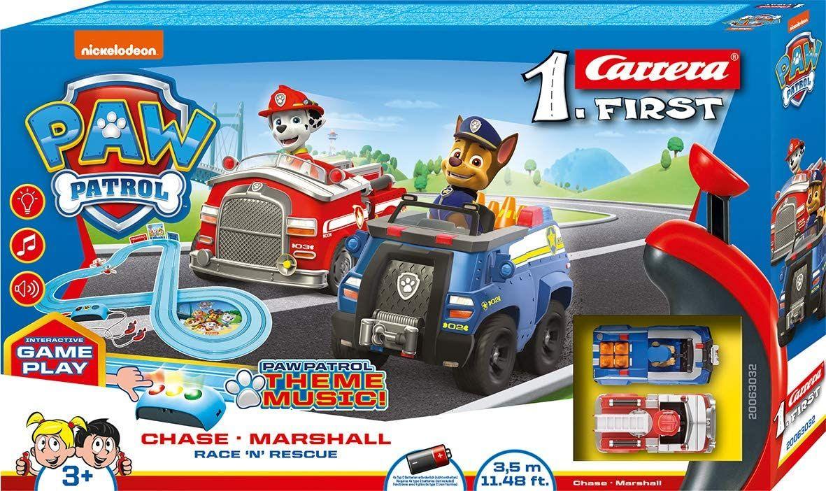 Carrera FIRST PAW PATROL Race 'N' Rescue 2,4m Rennstrecken-Set   2 ferngesteuerte Fahrzeuge mit Chase und Marshal