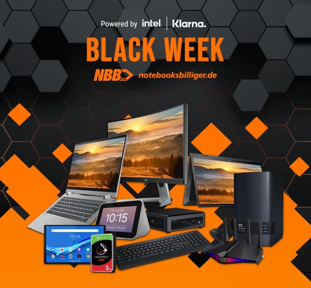 NBB Black Week: Diverse Angebote für Notebooks, Monitore, Hardware, PCs, Beamer, Drucker, Netzwerk, Smart Home, Software & Zubehör