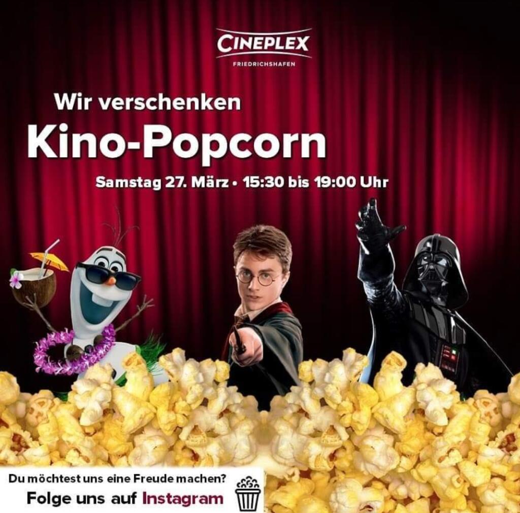 [CINEPLEX Friedrichshafen] Gratis Popcorn am Sa. 27.03 von 15:30 - 19:00 Uhr