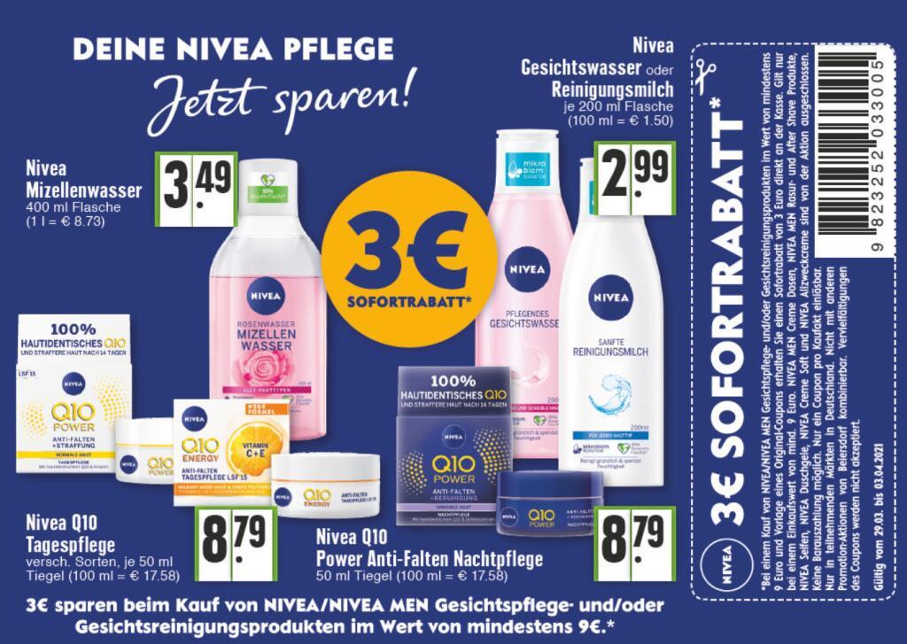 Nivea Gesichtspflege 3€ Sofortrabatt (9€ MBW) 29.03 - 03.04