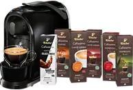 TCHIBO CAFISSIMO Pure + 60 Kapseln (Espresso, Filterkaffee, Caffè Crema) Kapselmaschine in Schwarz, weiß und rot