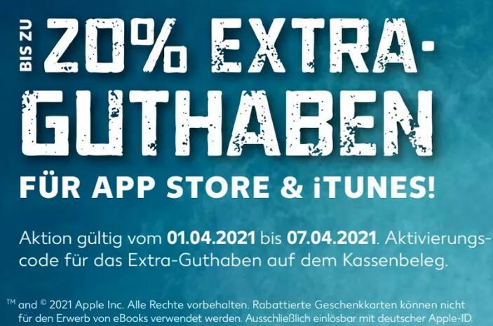 [Kaufland vom 01.04. - 07.04.] Bis zu 20% extra Guthaben auf Apple App Store & iTunes Geschenkkarten