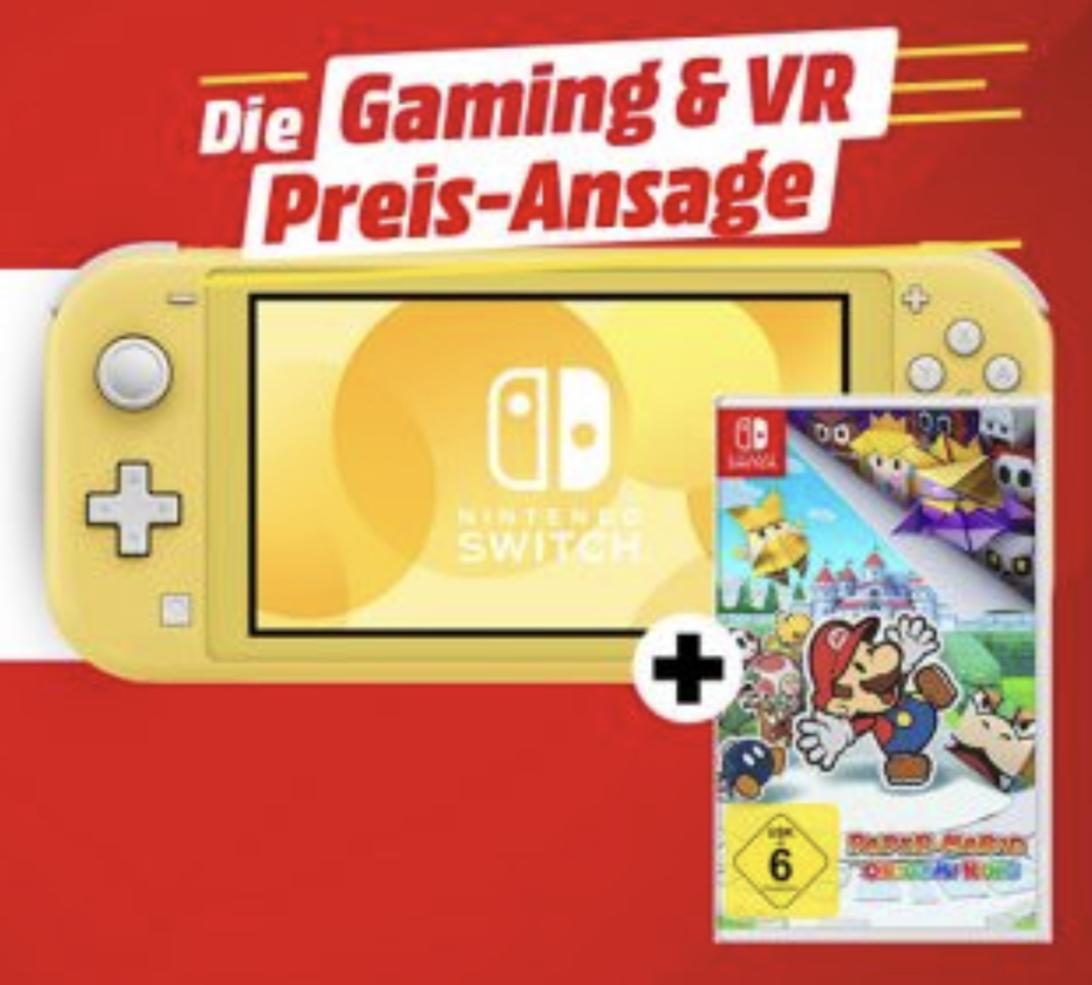 Nintendo Switch Lite Konsole gelb + Spiel Mario The Origami King für zusammen 209,99€ / mit Mario 3D World o. Hyrule Warriors für 214,99€