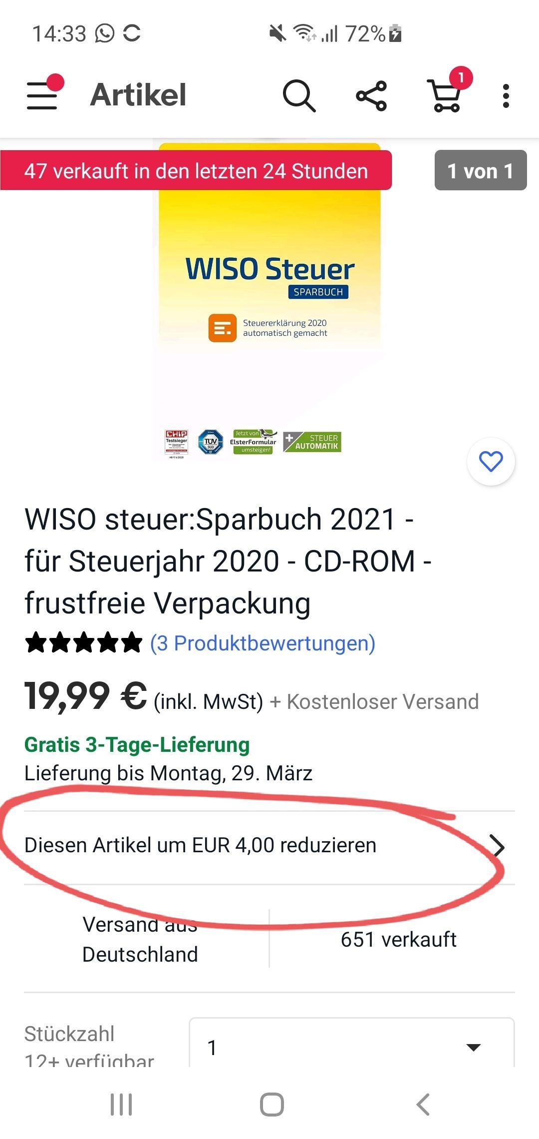 WISO steuer:Sparbuch 2021 (CD-ROM mit frustfreier Verpackung) für 15,99 EUR bei Nutzung der App mit Gutschein (personalisiert?)