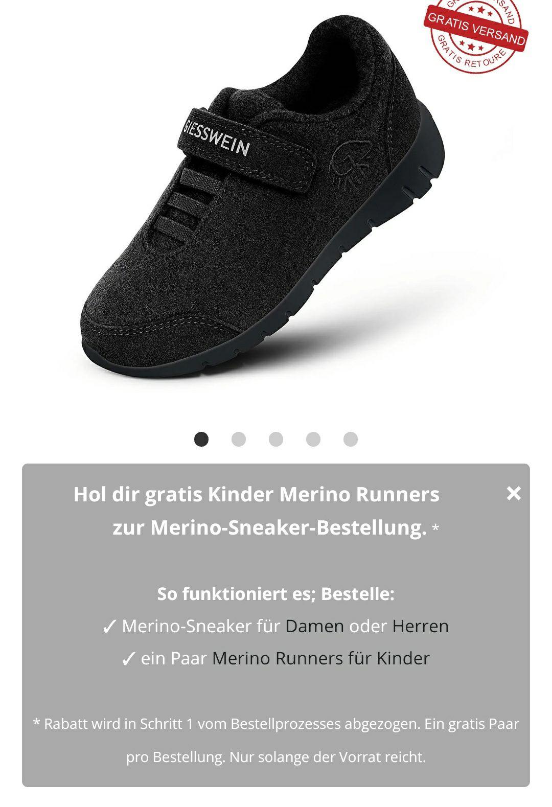 GRATIS Giesswein Kinder Merino Runners beim Kauf von Merino Schuhe für Damen oder Herren