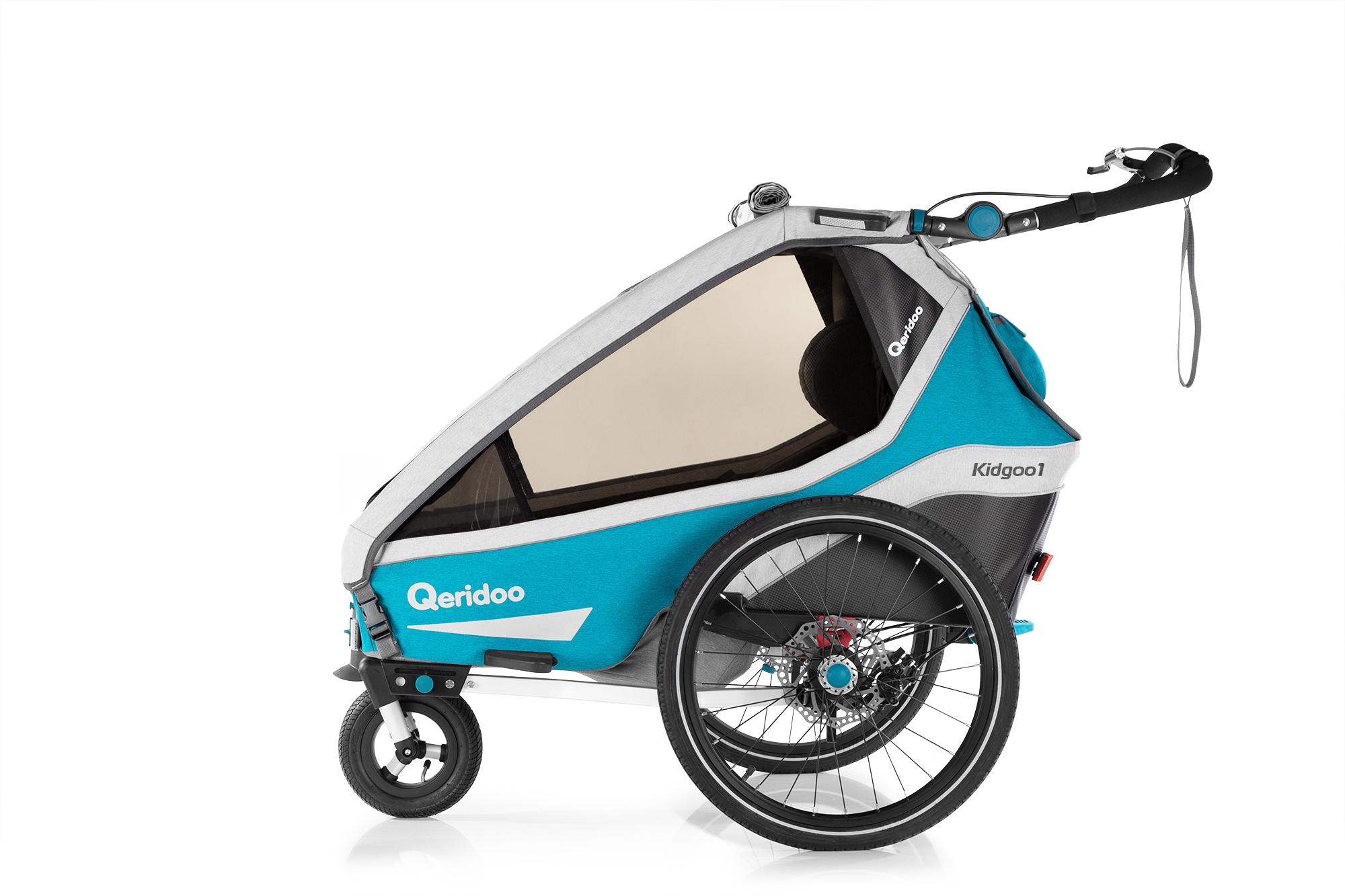 Qeridoo Kidgoo1 Sport (mit Handbremse) (2020) - Fahrradanhänger für Jogger und Inline-Skater