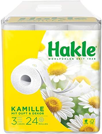 """Hakle Toilettenpapier """"Natürlich Pflegend mit Kamille und Aloe Vera"""" 3-lagig, 96 Rollen, Preis pro Rolle 0,23 Euro"""