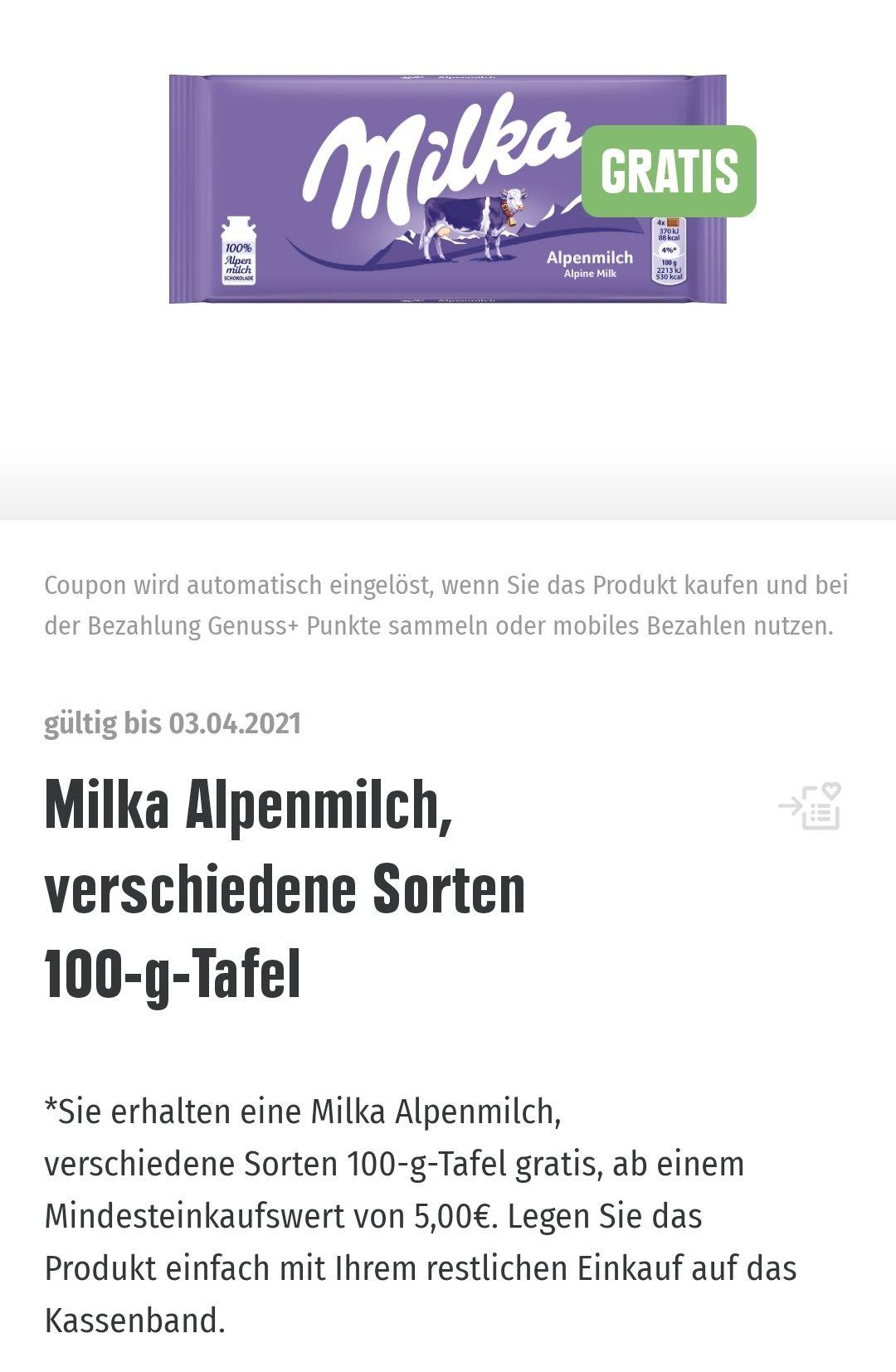 EDEKA / Marktkauf Südwest Genuss plus App gratis Milka Schokolade 100 g bei Einkauf ab 5 €