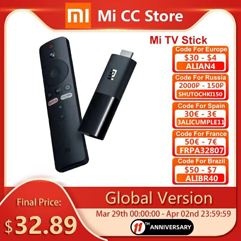 Global Version Xiaomi Mi TV Stick Android TV 9.0 1080P(Full-HD) 8GB ROM Google Assistant Netflix
